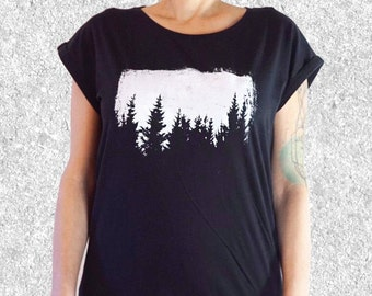 Womens graphic Tee, Trees t shirt,  Clothing Gift, Outdoors Gift, Forest t shirt, Nature, Screen Printed t shirt, Rolled Sleeve, Fair Wear