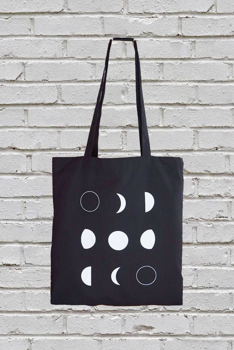 Moon Phases Organic Cotton Canvas Tote Bag Screen Printed Eco image 0