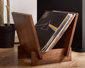 Vinyl Record Flip Rack - LP Record Holder - Solid Oak Wood - Holds Up To 40 Records