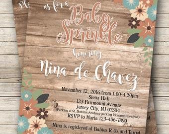 Rustic Baby Sprinkle Invitation. Digital File.