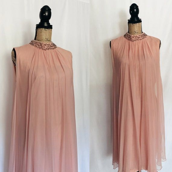 Vintage 1950's Pink Chiffon Tent Dress Beaded Coll