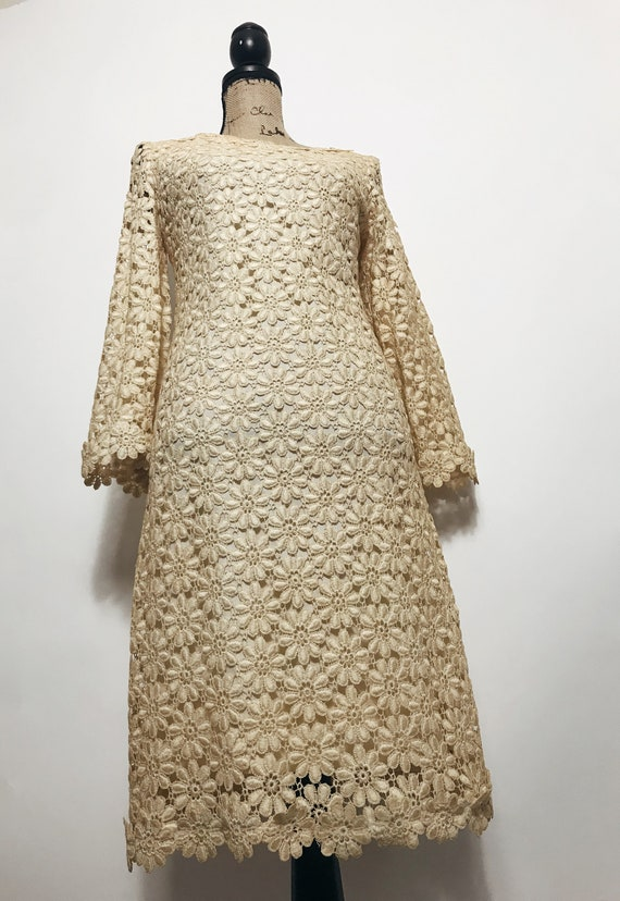 Vintage Suzy Perette Crochet, Lace Dress, 1960s