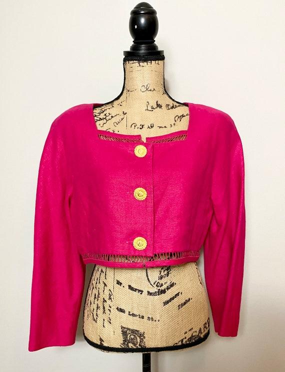 Vintage Scaasi Cropped Linen Blazer / Jacket  Mage