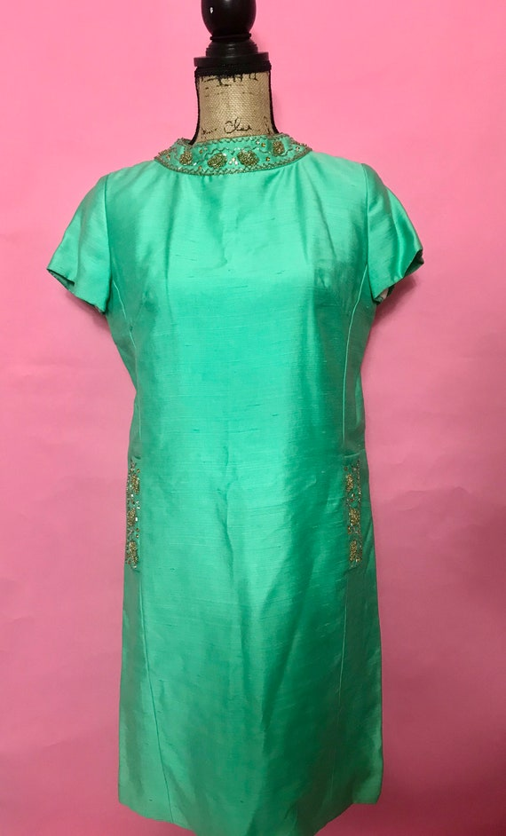 Vintage Green Brocade Dress