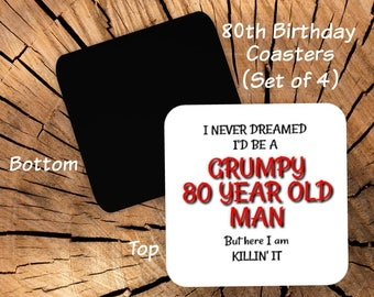 80th Birthday Coasters Set Of 4
