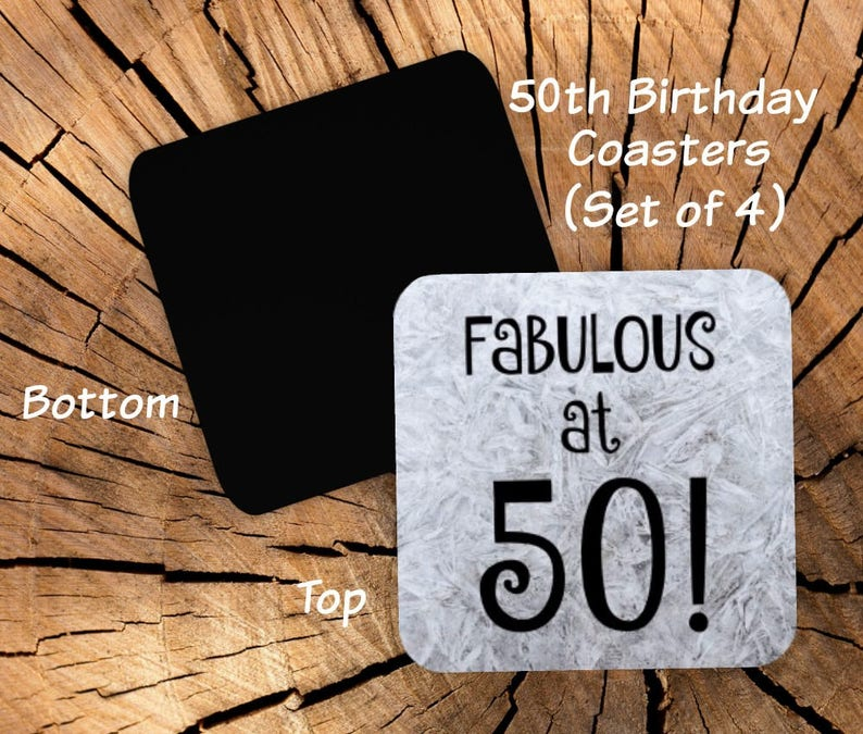 50th Birthday Coasters Set Of 4 Party Favors