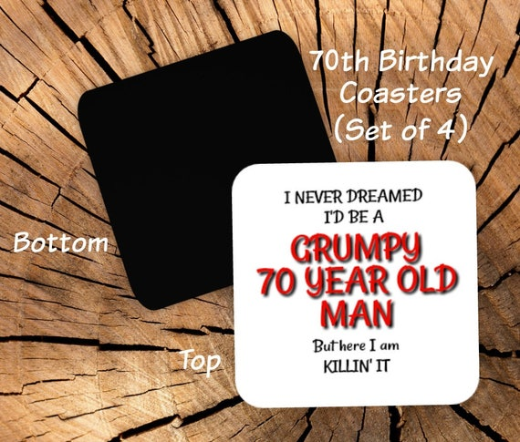 70th Birthday Coasters Set Of 4 Party Favors
