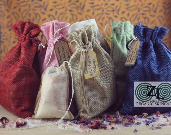 Bath Infusion teagbags with Himalayan Pink Salt, Dead Sea Salt and organic essential oils