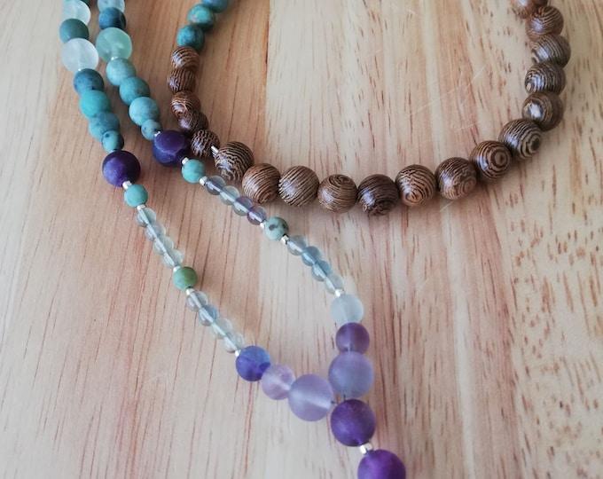 Amazonite Teardrop Mala 108 bead necklace handmade