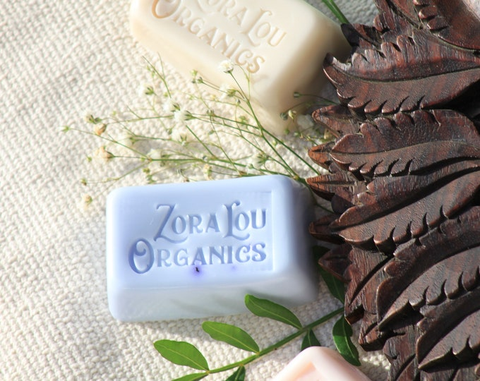 Organic shampoo & conditioning hair and body wash soap bar, organic sweet, relaxing Roman Chamomile, French Lavender and soothing Aloe Vera