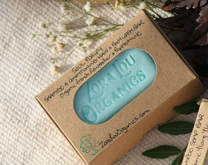 Organic shampoo and conditioning hair and body wash soap bar with sweet & herby Lavender,  fresh, crispy Peppermint and soothing Aloe Vera