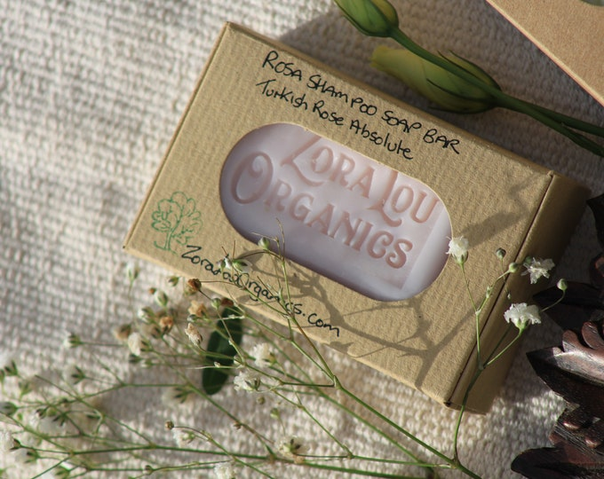 Rosa 3 in 1 shampoo and conditioning soap bar with rich intoxicating Turkish Rose Absolute and soothing Aloe