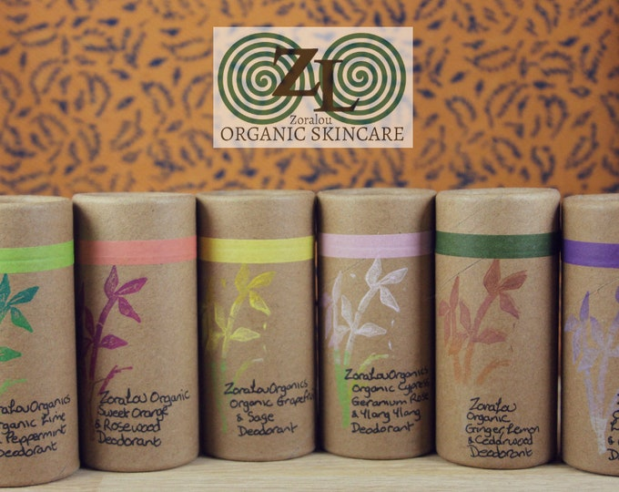 Handmade, organic, vegan deodorants in a biodegradable push up tube with organic essential oils. 6 varities to choose from
