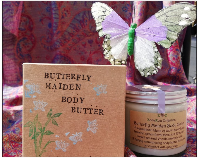Butterfly Maiden luxury body butter (with raw organic Cacao Butter, Jasmine, Organic Geranium Rose & Vanilla) 100% All Natural, Handmade