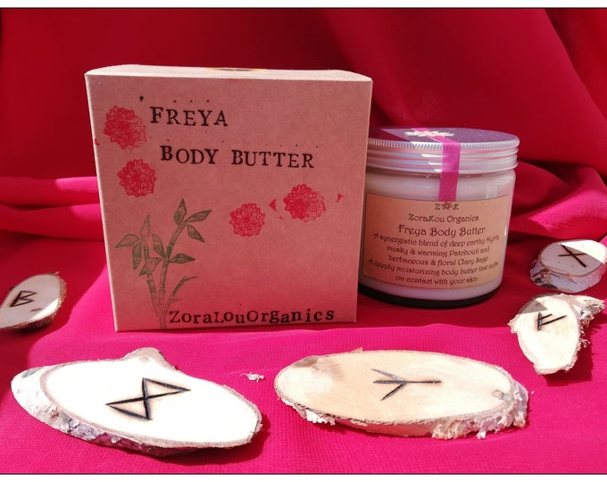 Freya luxury body butter (with Raw Cacao Butter, herbaceous Organic Clary Sage, musky Organic Patchouli & earthy Myrrh) 100% All Natural