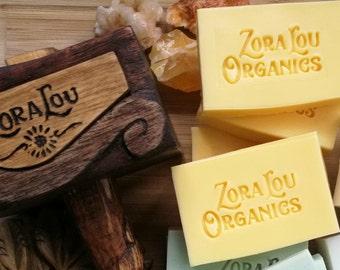 Organic handmade nourishing shampoo and body wash soap bar with evergreen Rosemary and light energising Lemongrass and Aloe Vera