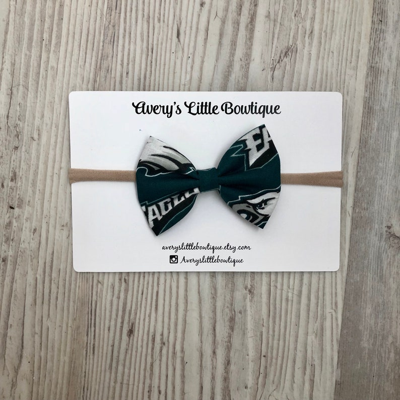 uk availability 6e3fd 56432 EAGLES Bow for Kids - Philadelphia Eagles Baby Gift- Philly Baby Gear -  Eagles Bow - Football Alligator clip - One size Bow - Eagles Attire