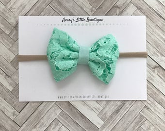 Mint green lace bow - baby headbands - bows for girls- lace bow - summer outfit bow - baby girl bows - baby shower gift