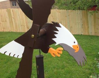 Eagle Whirligig Handmade Wood Spinner Folk Art Whirligigs Wood Yard Art Garden  Whirligig