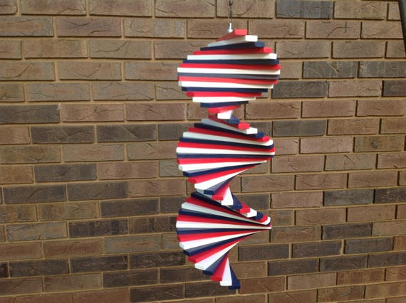 Red White And Blue Wind Spinner 4th Of July Yard Art Garden Etsy