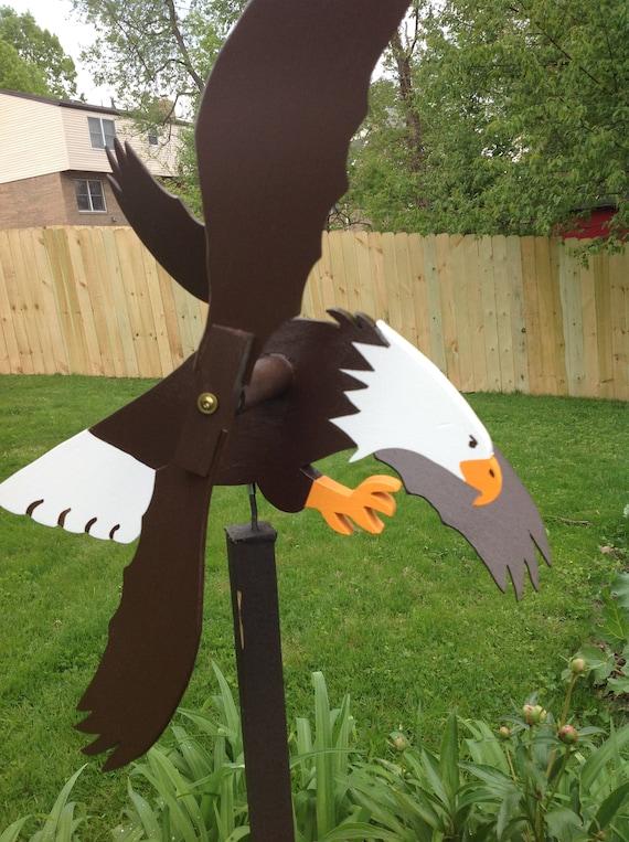 Eagle Whirligig Handmade Wood Spinner Folk Art Whirligigs Wood   Etsy