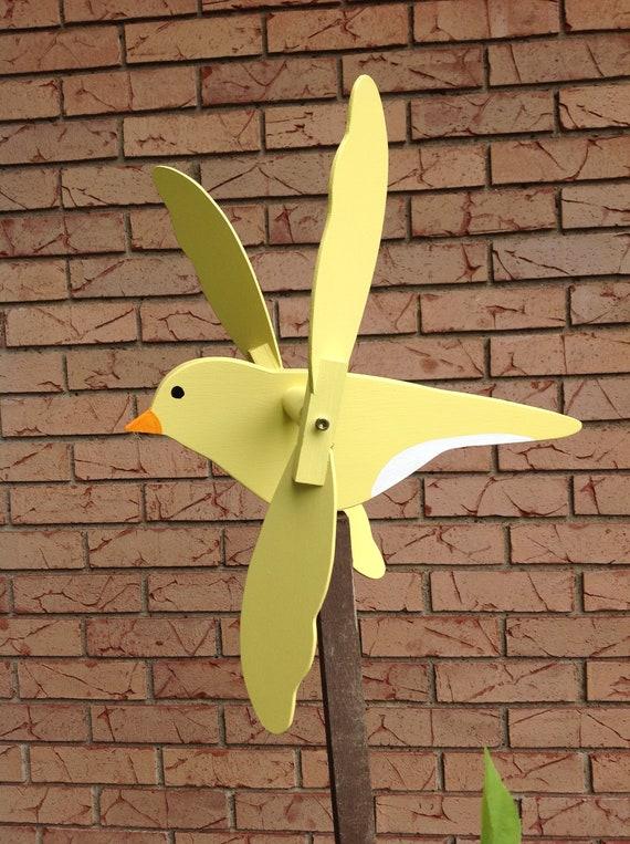 Canary Whirligig Garden Spinner Yard Art Wood Wooden   Etsy