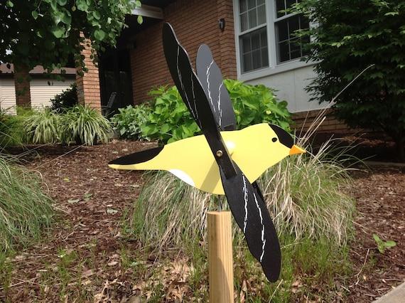 Goldfinch Whirligig Whirlygig Wood Yard Art Garden   Etsy