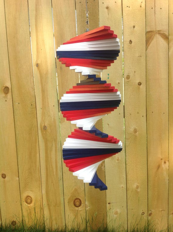Red White Blue Wood Wind Spinner 4th Of July Yard Art Art Etsy