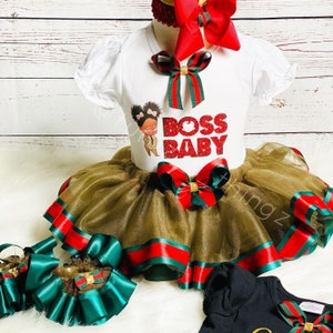 boss baby birthday tutu outfit hair bow fluffy tutu personalized T-shirt boss baby girl satin ribbon trim tutu 1st birthday outfit