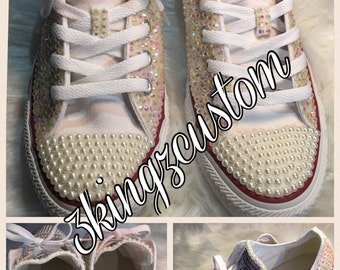 Pearl and bling converse sneakers