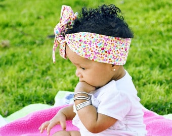 Dottie Headwrap- Multi Dottie Headband; Polka Dot Headband; Polka Dot Headwrap; Polka Dot Bow; Baby Headwrap; Toddler Headwrap; Headwrap