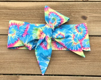 Tie Dye Headwrap- Tie Dye Bow; Tie Dye Headband; Tie Dye; Baby Headband; Baby Head Wrap; Mommy and Me; Headwrap; Head Wrap; Toddler Headband