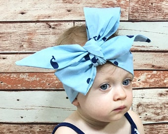 Whale Headwrap- Headwrap, Whale Head Wrap, Baby Head Wrap, Baby Headwrap, Girls Headwrap, Big Bow Headwrap, Toddler Headwrap, Baby Turban