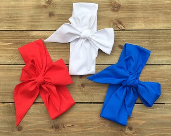 Merica Headwrap Set- Head Wrap; Headwrap; Baby Headband; Baby Headwrap; Toddler Headband; Toddler Headwrap; Mommy and Me Headbands; Big Bows