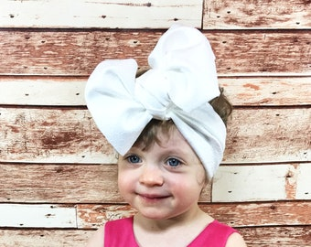 White Knit Headwrap- Headwrap; Stretchy Headwrap; Baby Headband; Toddler Headband; Stretchy Head Wrap; Baby Headwrap; Toddler Headwrap