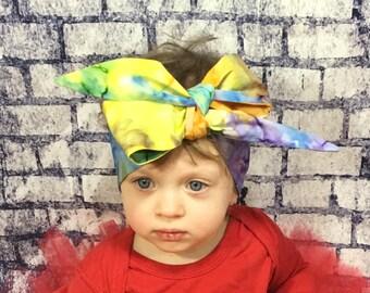 Aurora Headwrap- Headwrap; Tie Dye Head Wrap; Tie Dye Headband; Tie Dye Bow; Baby Head Wrap; Baby Headwrap; Head Wrap; Big Bow Headwrap