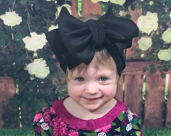Black Knit Headwrap- Headwrap; Stretchy Headwrap; Baby Headband; Toddler Headband; Stretchy Head Wrap; Baby Headwrap; Toddler Headwrap
