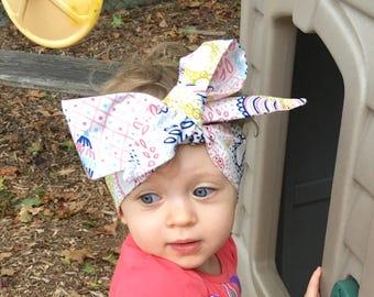 Line Art Headwrap- Headwrap, Floral Head Wrap, Baby Head Wrap, Baby Headwrap, Head Wrap, Big Bow Headwrap, Toddler Headwrap, Girls Headwrap