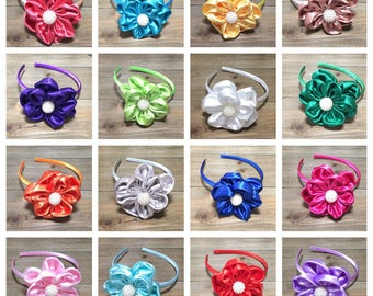 CHOOSE COLOR- Girls Headbands; Toddler Headbands; Satin Flowers; Christmas Headband; Headbands for Girls; Holiday Headbands; Baby Headbands