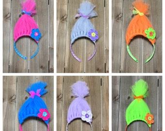 Trolls Headband- Poppy Headband; Troll Hair; Troll Hair Headbands; Trolls Party Favors; Troll Accessories; Girls Headbands; Troll headbands