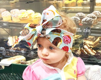 Donut Headwrap- Donut Headband; Doughnut Headband; Donut Bow; Mommy and Me Headbands; Big Bow Headwrap; Baby Head Wrap; Headwrap; Head Wrap
