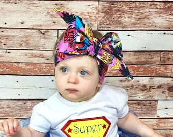 Girl Power Headwrap- Superhero Headwrap; Superhero Headband; Super Girl Headband; Bat Girl Headband; Wonder Woman Headband; Toddler Headband