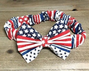 Patriotic Bow Headband- Patritic Bow; Patriotic Headband; Patriotic Hair Clip; Hair Clips; Patriotic Headwrap; Matching Headbands; USA