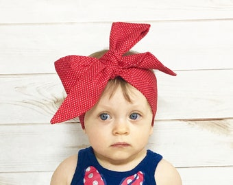 Red Dottie Headwrap- Red Headband; Polka Dot Headband; Minnie Headband; Red Headwrap; Red Bow; Polka Dot Headwrap; Polka Dot Bow; Minnie Bow