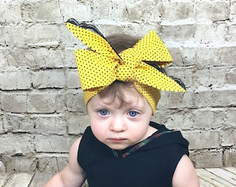Yellow Dottie Headwrap- Headwrap; Yellow Heaband; Yellow Bow; Polka Dot Headband; Lace Headband;  Mommy and Me Headwrap; Baby Headband
