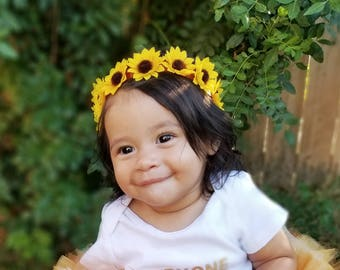 Sunflower Headband- Sunflower Headpiece; Fall Headband; Sunflower Crown; Sunflower Halo Hair Hairpiece Harvest Wedding; Sunflower Festival