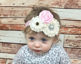 CHOOSE COLOR Rosette Headband Baby Girl Headband Baby Headband Flower Girl Headband Vintage Baby Headband Baby Bows Flower Headband Newborn