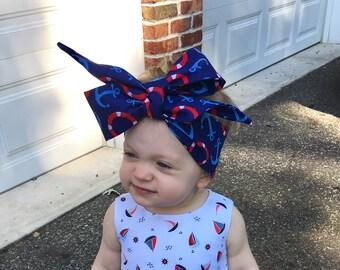 Anchor Headwrap- Headwrap, Anchor Head Wrap, Baby Head Wrap, Baby Headwrap, Girls Headwrap, Big Bow Headwrap, Toddler Headwrap, Baby Turban