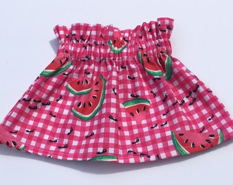 Watermelon Skirt- Ruffle Skirt; Watermelon Outfit; Baby Skirt; High Waist Skirt; Watermelon Headband; Toddler Skirt; Baby Ruffle Skirt