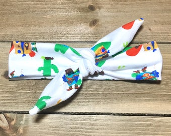 Cowboy Owls Headband- Baby Headwrap; Baby Head Wraps; Tie Knot Headband; Matching Baby Headbands; Girls Headbands; Newborn Headband